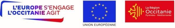 les logos de l'union européenne, de l'Occitanie et de leader
